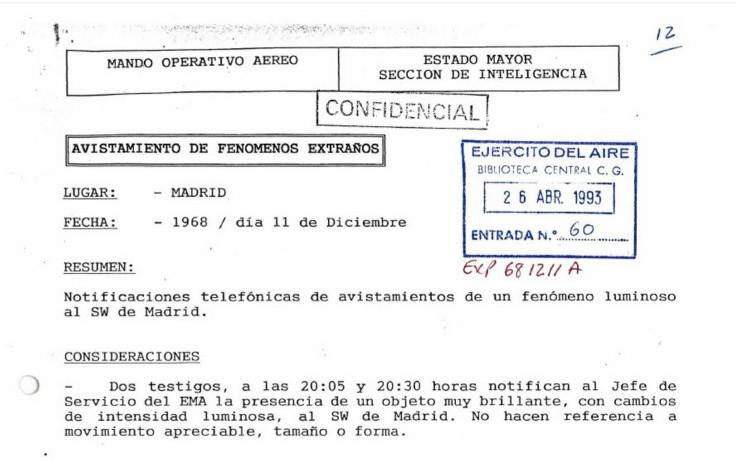 España desclasifica nuevos expedientes de avistamientos OVNI